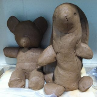 "Process for 'Creature Comfort'  Making ceramic stuffed animals for ""Opossum (Child's Room)""."